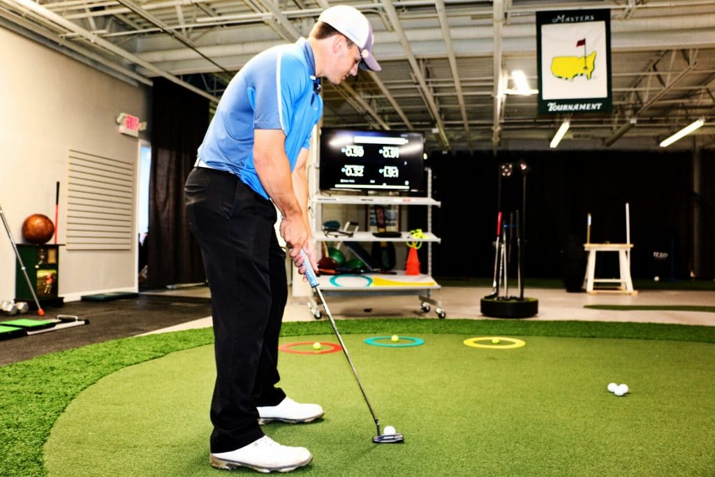 Golf Putting Practice at the Sing Factory Golf Studio in Alpharetta GA